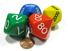 Set of 4 Jumbo 29mm Place Value D10 Dice - Number Die for Counting 0 to 9,999