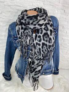 Blogger Trend kuschel Schal Tuch scarf animal Leo Leopard  grey Fransen  Neu