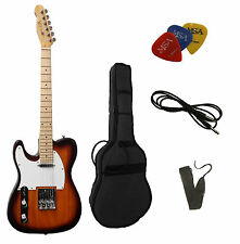 E-Gitarre TC-linkshand, in sunburst, mit Tasche + Band + 3xPiks/Plektren+Kabel!n
