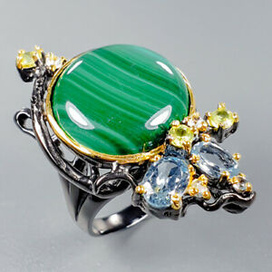 Handmade SET Natural Malachite 925 Sterling Silver Ring Size 8.5/R123337