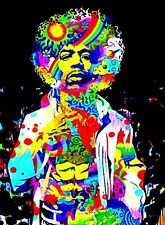 "3.25"" JIMI HENDRIX  Psychedelic STICKER. Fender Guitar. For glass bong or pipe."