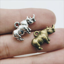 50pcs Rhinoceros Antique Silver Charms Pendants for Jewelry Making 13*20mm