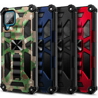 Case For Samsung Galaxy A12, Full Body Armor Kickstand Cover + Tempered Glass