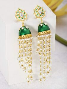 Gold-plated Brass and Pearl Jhumki Earrings for Women a879