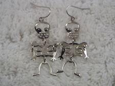 Cute Silvertone Skeleton Pierced Earrings (D77)