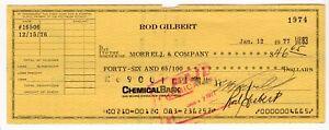 Rod Gilbert - Hockey Hall of Fame Autographed 1977 Canceled Check