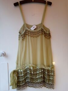 Flapper lounge dress in antique moss chiffon with glass beading from Madame V