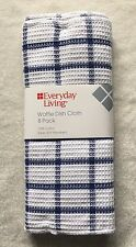 """8 Navy Blue WAFFLE Weave Cotton Dish Cloths Rags Kitchen Towels 12"""" x 12"""""""