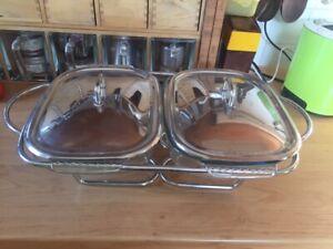 Speisewärmer 2 große Glasschalen mit Deckel und 2 Stövchen von Pyrex