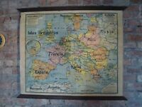 Vintage Old Roll up linen Spanish Europe Europa Map French made Post WW1 pre WW2