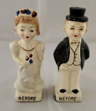 "Vintage Japan ""Wedding - Bride & Groom - Before & After"" Salt and Pepper Shakers"