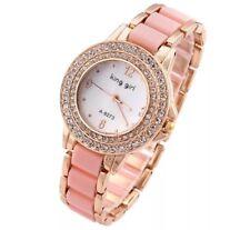 Girls Women's Diamond Crystal Stainless Steel Bracelet Dial Quartz Wrist Watch