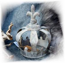 DEKO-Krone Metall Wohnraum-deko Shabby chic Vintage grau Landhaus Antik Lilie