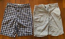 Boys Old Navy Shorts Both Size 7 Plaid Stripes Adjust Waistband Inside Pockets