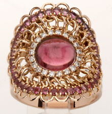 Garavelli VVS diamond rubellite link ring 18K rose gold round brilliant 4.95CT
