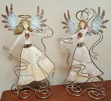"Pair Glittering Dancing Capiz Shell & Metal Angel Sculptures Art Philippines 9"""