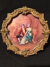 Antique 19th French Limoges Enamel Miniature Portrait Plaque Painting Gilt Frame
