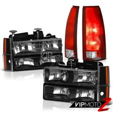 88-93 Silverado 2500 Bloody Red Tail Lights Inky Black Headlights Signal Parking