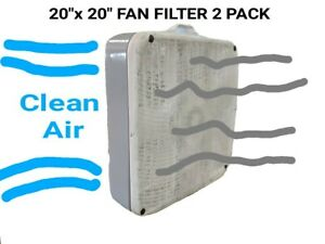 """Box Fan Filters 2 Pack 20""""x 20"""" Washable Reusable 8 Retainer Pin"""