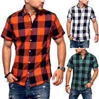 JACK & JONES Herren Hemd Kurzarm Poloshirt Freizeithemd T-Shirt Karohemd Kariert