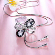 18K White Gold Plated CZ Crystal Bowknot Pendant Long Chain Necklace