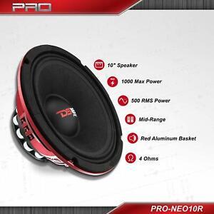 "DS18 PRO-NEO10R 10"" 1000 Watt Mid Bass Midrange 4 Ohm Speaker Car Neo Sub Woofer"