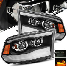 For 09-18 Dodge Ram (2019 Style) Black Projector Headlights Left/Right Assembly