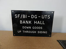 Vintage signal box lever sign Etched Plastic Bank Hall Down goods. 25cm x17cm