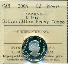 "2004 Canada Sterling Silver 5-cent ""D Day"" Certified ICCS PF-67 UHC"