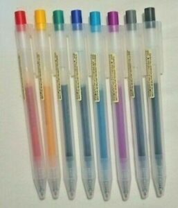 NEW MUJI Gel Ink Click Ballpoint Pen 6 pieces VARIOUS COLORS -FAST FREE SHIPPING