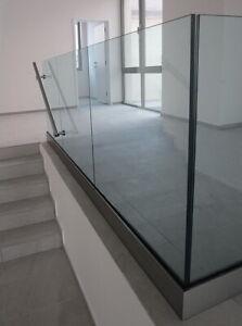 Aluminium Ganzglasgeländer Bodenprofil Set mit Dichtung Glas T12,76mm  L1,25m SE