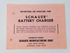 Schauer Automatic Battery Charger Instruction Manual Model B6612 JJ