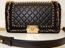 Authentic Chanel Boy Jacket Black Calf Leather Medium Classic Flap Bag