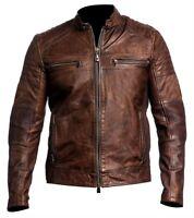 Men Cafe Racer 2 Vintage Biker Distressed Brown Leather Jacket