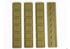 """4pcs Tan KeyMod Rail Cover Textured Anti Slip Soft Rubber Panels - 6.25"""""""