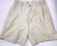 "Flyers Khaki Chinos Shorts Sz 32 Pleated Front 7.5"" Inseam"