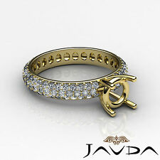 Pave Diamond Eternity Style Wedding Ring Round Semi Mount 18k Yellow Gold 1.5Ct