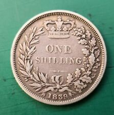More details for 1839 queen victoria silver shilling no ww. #161