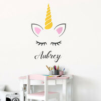 Unicorn Wall Decal Sticker, Personalized Unicorn Head Pony Girls Room Decor Art