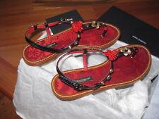NIB Dolce & Gabbana Womens Red Thong Sandals Flip Flops SZ 37.5 EU $1098