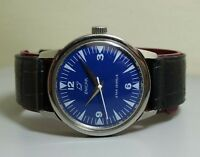 SUPERB VINTAGE ENICAR WINDING SWISS MENS E68 OLD USED WRIST WATCH BLUE DIAL