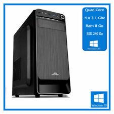 PC de Bureau Quad Core - 4 x 3.10 Ghz  - Ram 8 Go - SSD 240 Go - Windows 10 Pro