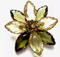 "GORGEOUS LARGE VINTAGE GOLD & GLASS FLOWER BROOCH - "" GREEN & LEMON "" Gift Boxed"