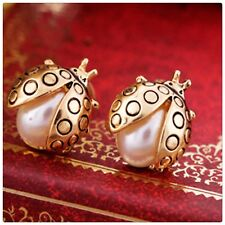 9kt Gold Filled Faux Pearl ladybird  Earrings ( BC charity fundraiser)💕
