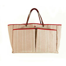 Anya Hindmarch Red & White Stripes Canvas Large Shopper Tote Bag Handbag