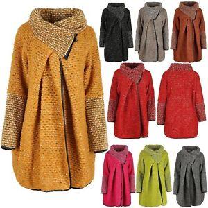Womens Italian Wool Mix Lagenlook Plus Size Cocoon Coat Collared Zip Jacket Top