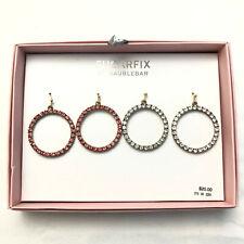 Sugarfix by BaubleBar Crystal Hoop Earring Gift Set 2 Pair Rhinestone Pink Clear