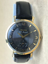Bulova 23 Jewels L8 Vintage 1950s Watch Black Face 10k Rolled Gold Plate - NICE