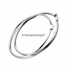 Women Ladies Polished Stainless Steel Big Large Circle Hoop Loop Dangle Earrings