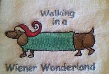 DACHSHUND WEINER DOG EMBROIDER BATHROOM HAND TOWELS 2
